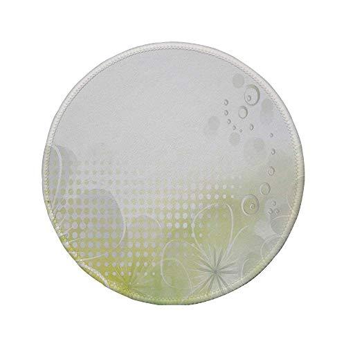 """Rutschfreies Gummi-Rundmauspad grau und gelb abstraktes Grunge-Design Wasserblasen und Blumen Bild hellgrau und hellgelb 7.9\""""x7.9\""""x3MM"""