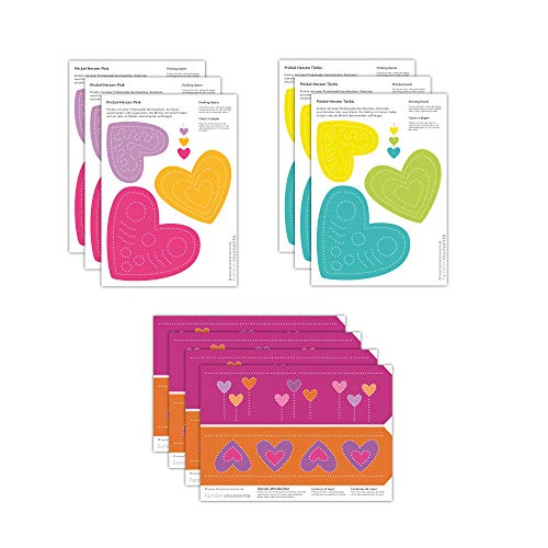 Familienmomente 10 Bastelbogen zum Prickeln Muttertag/Vatertag (3x Herzen Pink, 3x Herzen Türkis, 4x Herzen-Windlichter) DIN A5