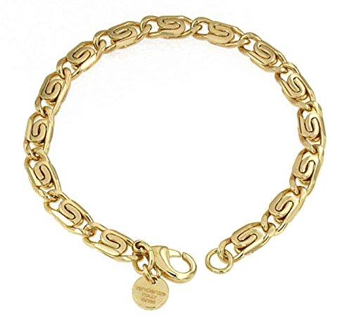 S-Panzerarmband 18kt Gold Doublé 6 mm Länge 23 cm, Armband Herren-Armband Goldarmband Damen Geschenk Schmuck ab Fabrik Italien tendenze SPGYs6-23