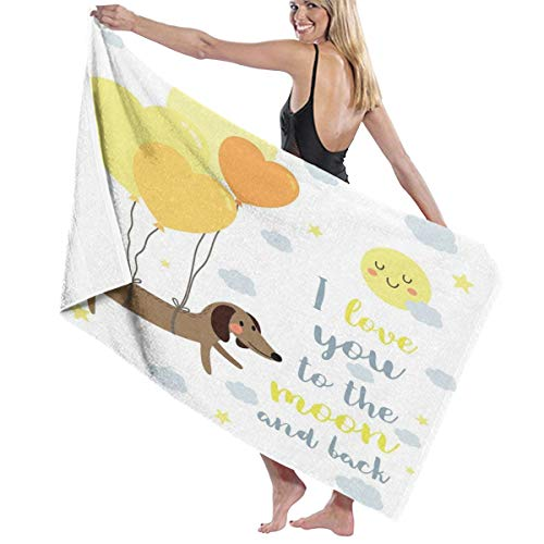 Pillow Bags Dog with Balloons and Concept Hearts Sun Clouds Puppy Best FriendsQuick Dry Super Absorbent Lightweight Thin Novelty Bath Beach Towels 80 cm X 130 cm
