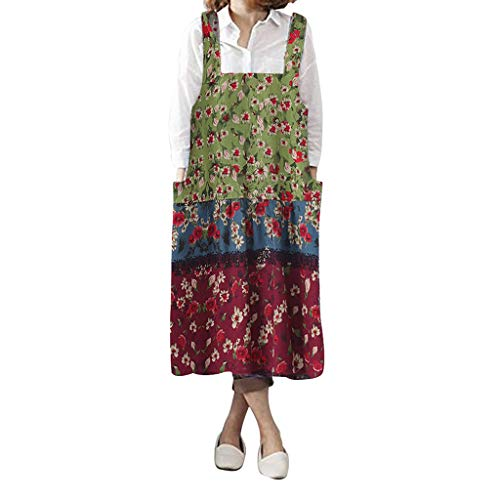 For Sale! Summer Dresses for Women,Women Vintage Floral Printed Pinafore Square Cross Pockets Work P...