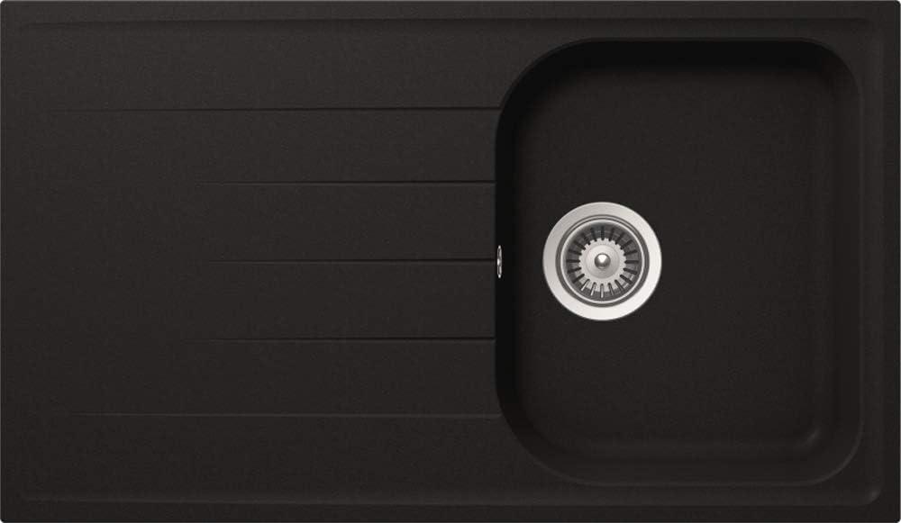 respekta by Schock Cristalite ORLANDO86X50S - Fregadero empotrable (1 seno, 50 cm), color negro