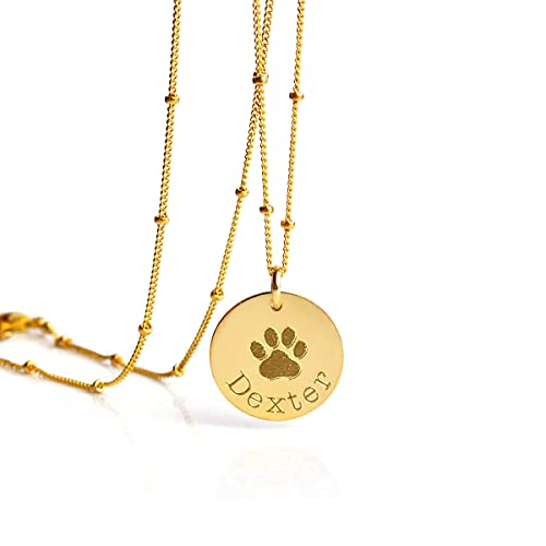 Personalized Paw Print Necklace, Pet Memory Necklace, Dog or Cat Memorial Jewelry 16mm