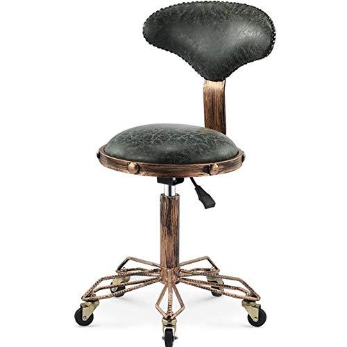 SXFYWYM Hydraulische Massage Beauty Kruk Hoogte Verstelbaar met Wielen Rugleuning Bloedcirculatie Ronde Salon bureaustoel Kleur3
