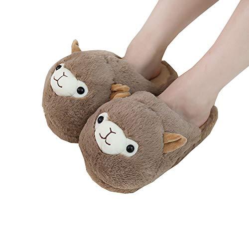 Femmes l'hiver Alpaga Coton Chaussures Maison Pantoufles Doux Peluche Mousse Mémoire Pantoufles Animal Chaud Pantoufles,01