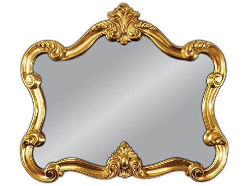 Espejo de pared, 80 x 70 cm, espejo barroco dorado ovalado vintage Shabby Look barroco antiguo