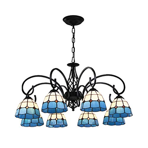 NSXBY Hanging Light For Dining Room,E27 Tiffany Chandelier Light Victorian Antique Stained Glass Shaded,During Light Traditional Ceiling Light Fixtures-Blue-white tiffany 8 head