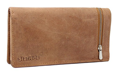 STARHIDE Womens RFID Shielded Real Distressed Hunter Leather Clutch...