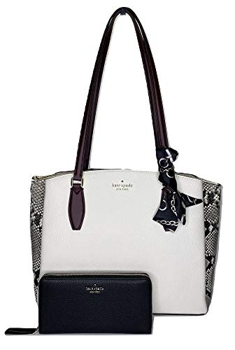 Kate Spade Monet Large Triple Compartment Tote bundled with matching Large Continental & Skinny Scarf (Neutral/Python/Black)