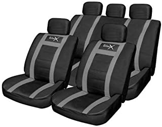 Pack of 11 Waterproof Polyester Car Seat Cover Elasticated Hems Streetwize SWUXSC6 Solid Seat Cover Set Central Zip Universal Fit Black//Grey