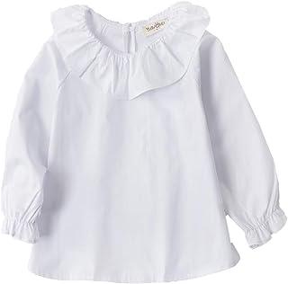 295f6101f2 Little Girls Blouse Cotton Long Sleeve Tee Shirts Lotus Leaf Collar 2-7 Year