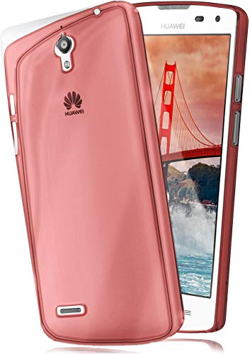 moex Aero Hülle kompatibel mit Huawei Ascend G610 - Hülle aus Silikon, komplett transparent, Klarsicht Handy Schutzhülle Ultra dünn, Handyhülle durchsichtig einfarbig, Rot