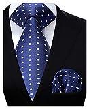 HISDERN Panuelo de corbata azul para hombre Conjunto clasico de corbata y bolsillo de lunares de boda