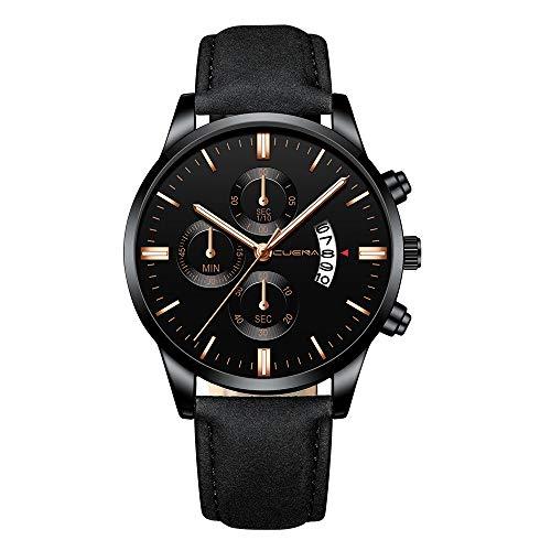 Hffan Herren Uhren Fashion Sport Wasserdicht Militäruhr Männer Multifunktions Chronograph Quarz Schwarz Armbanduhren Kalender mit Leder Armband