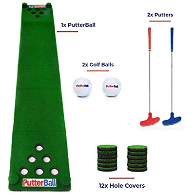 PutterBall Golf Beer Pong Game Set - Includes 2 Putters, 2 Golf Balls, Green Putting Beer Pong Golf Mat & Golf Hole Covers - Best Backyard Party Golf Game Set by PutterBall