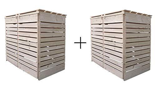Mülltonnenverkleidung Holz 120L - 240L Natur mit Rückwand vormontiert Müllcontainer Mülltonnenschrank Mülltonne Mod.Hamburg (4 Tonnen)