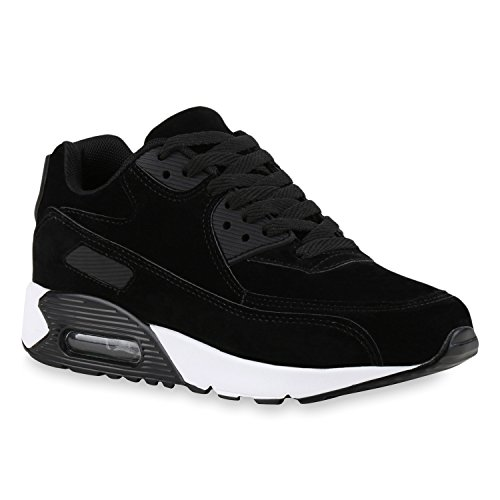 stiefelparadies Damen Herren Unisex Sport Runners Sneakers Lauf Trendfarben Schuhe 142832 Schwarz Brooklyn 37 Flandell