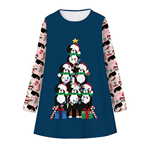 Christmas Casual Dresses for Girls 5-10 Years, Xmas Printed Long Sleeve Crewneck Winter Fall Dress
