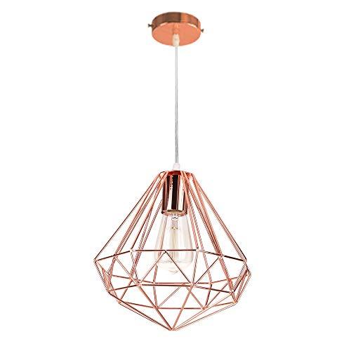 Industrial Design Diamant Hängeleuchte Prismatische Lampenschirm, Ø 26 cm Vintage Pendelleuchte Lampe Deckenleuchte LED Roségold