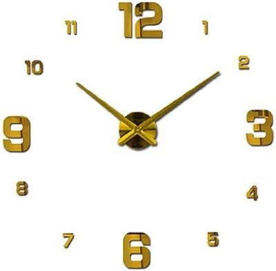 Hwealth DIY Modern Design Rushed Quartz Clocks Fashion Mirror Sticker - Gold