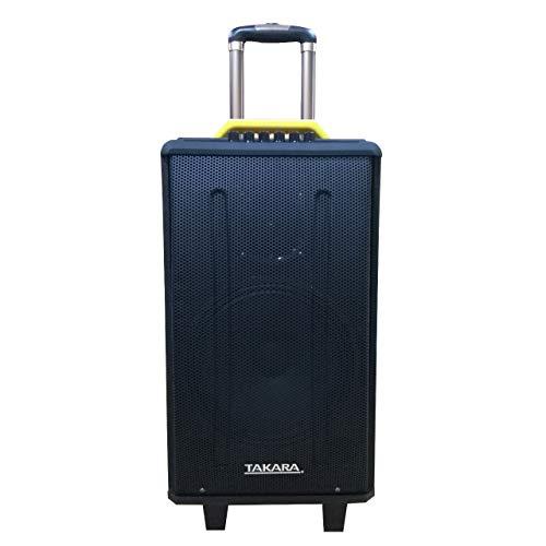 Takara Karaoke Speaker T-5112a Trolley 12-inch Woofer Portable Multimedia Bluetooth Karaoke Speaker with Audio Recording; USB; SD; TF; AUX PA System with 2 Wireless UHF Mic; Remote Control; FM (Black)