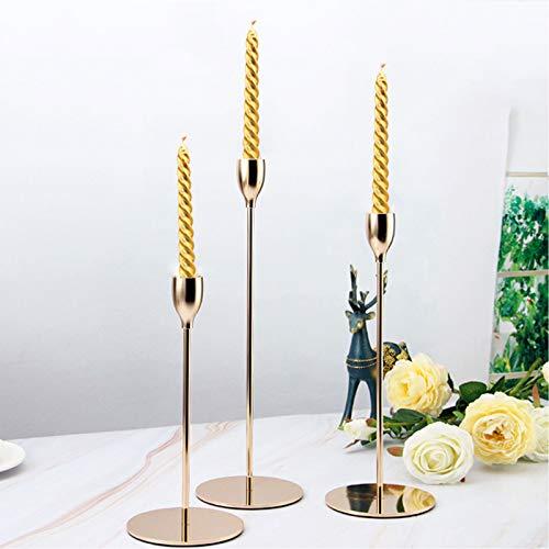 Set di 3 Portacandele, candelabro elegante 3 pezzi, portacandele moderno minimalista 23/28 / 33cm per Cena a lume di Candela, Decorazioni di Nozze, decorazione Natalizia, Regali per la casa