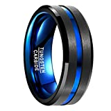 Vakki(ヴァッキ) メンズ リング 指輪 レアメタル【タングステン】 超硬 真空メッキ 色落ちない ブルーライン 幅広さ8mm カラー:ブラック サイズ:24号