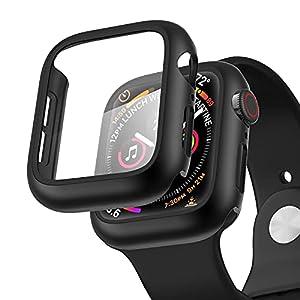 【2枚セット】POLINK 対応 Apple Watch ケース 44mm 40mm PC素材 強化ガラス 保護カバー アップルウォッチケース Series 6/SE/5/4 対応 (44mm, ブラック)