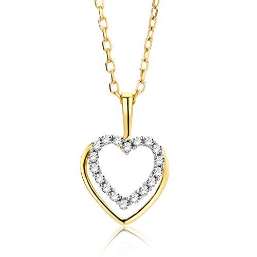 Orovi Collana - Pendente - Ciondolo Donna Cuore con Catena in Oro Giallo con Diamanti Taglio Brillante Ct 0.07 Oro 9 Kt / 375 Catenina Cm 45