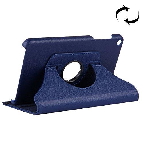 HUILIAN Casse del Telefono Mobile & Cover, Huawei MediaPad T1 7.0 / T1-701u Litchi Texture Ribaltamento Orizzontale 360 Gradi di Rotazione Custodia in Pelle con Holder (Colore : Blu Scuro)