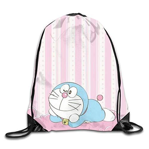 shenguang Unisex Rosa Doraemon Sports Mochila con cordón Bolsa de Gimnasio