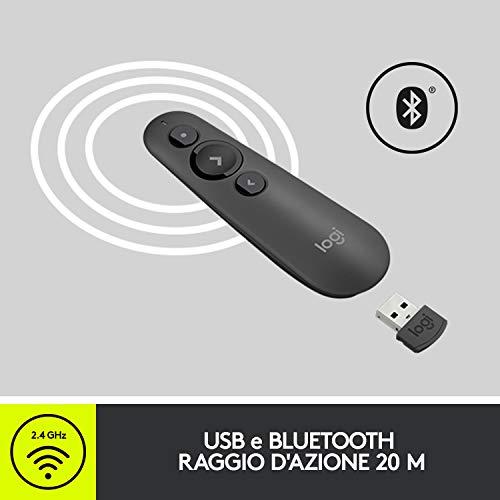 Logitech R500 Puntatore Laser per Presentazioni Wireless, 2.4 GHz e Bluetooth, Ricevitore USB, Puntatore Laser Rosso, Portata 20 Metri, 3 Pulsanti, PC/Mac/Android/iOS, Nero