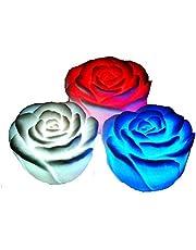 3 قطع وردة مضيئة اضاءة خافتة متغيرة الالوان تزين غرف المنزل