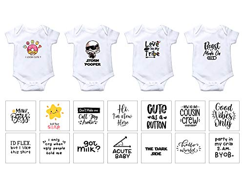 EKOI Iron on Baby Transfers for Baby Shower - Cute Appliques Decals Patches Fun Phrase Quotes Words for Babies Bodysuit Clothes Toddler Boy Girl Clothing Decorating Kit (18 Designs Sets)