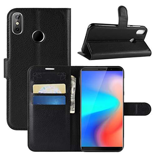 HualuBro CUBOT J3 Pro Hülle, Premium PU Leder Leather Wallet HandyHülle Tasche Schutzhülle Flip Case Cover mit Karten Slot für CUBOT J3 Pro 2018 Smartphone (Schwarz)