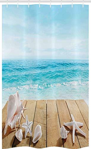 ABAKUHAUS Strand Schmaler Duschvorhang, Sonnenschein Muscheln Foto, Badezimmer Deko Set aus Stoff mit Haken, 120 x 180 cm, Mehrfarbig