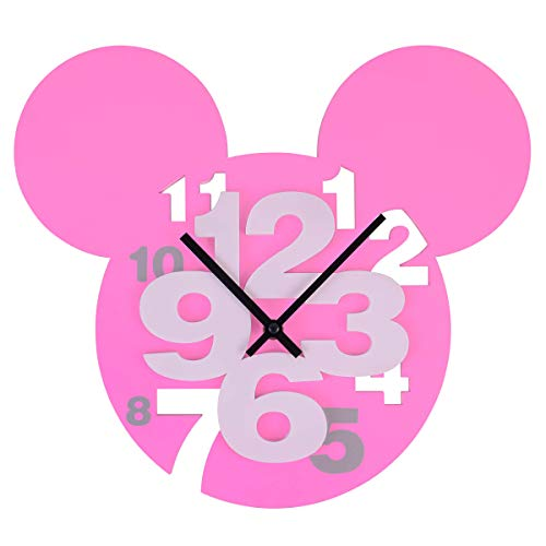 MEIDI Reloj de pared 3D con diseño moderno de Mickey Mouse con dígitos grandes 3D para decoración del hogar