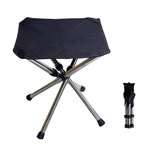 WWVAVA Taburete telescópico al aire libre portátil de acero inoxidable plegable silla camping playa mini taburete plegable taburete, negro