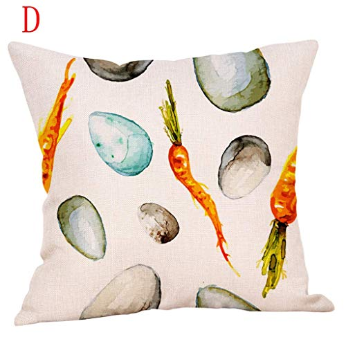 Nyfcc Sofa Pillow Protector Easter egg Pattern Cotton Linen Cushion Cover Throw Pillow Case Decor Home Car Decorations in (Color : D, Size : -)