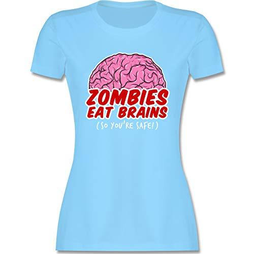 Halloween - Zombies eat Brains - so You´re Safe! - XL - Hellblau - Geschenk - L191 - Tailliertes Tshirt für Damen und Frauen T-Shirt