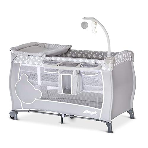 Hauck Lit Parapluie Complet Babycenter / de la Naissance à 15 kg / 120 x 60 cm / 2 Niveaux / Table à Langer / Roues / Arche de Jeu / Rangement / Sac de Transport / Pliable Compact / Gris Teddy