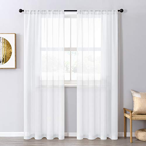 CUTEWIND White Sheer Curtains 96 inches Long for Bedroom Living Room Transparent Voile Window Curtain Panels Sliding Glass Door Drapes Rod Pocket 37 x 96 Inch (Set of 2 Panels)