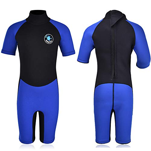 REALON Kids Wetsuit Shorty Boys Girls 3mm Neoprene One Piece Thermal Swimsuit 2mm Warm Full Long Sleeve Wet Suits Cover Toddler Child Junior Youth Swim Surf Dive (2.5mm Shorty Boy's/Blue, XL)