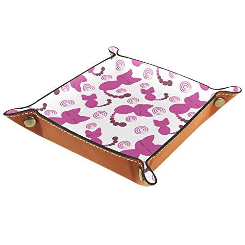 Bandeja de valet, bandeja de piel sintética, bandeja Catchall, bandeja para llaves de joyería para hombres y mujeres, placa de almacenamiento de escritorio para llaves, monedero, joyería de gato, rosa