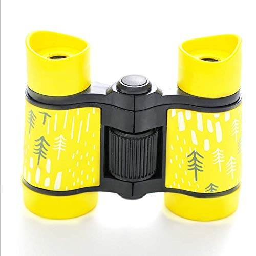 HNRLOY Binoculars for Kids, Boys Girls 4x30 High-Resolution Real Optics Rubber Binocular Toys Shockproof Folding Small Telescope for Travel, Camping, Bird Watching, Outdoor Play - Best Gifts (Yellow)