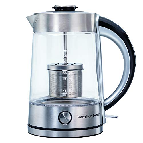 Hamilton Beach 40868C 1.7 L Glass Kettle with Tea Steeper, Stainless & Glass, 40868C, One size