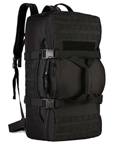 ArcEnCiel Outdoor Multi Tactical Army Backpack Military Waterproof Camouflage Suitcase Hunting Mountain Sports Luggage Hiking Camping Bag -Rain Cover Included (Black)