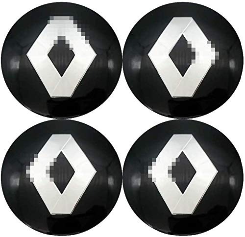 Coche 4Pcs 56mm, Tapas de cubo de rueda Emblema 3D Tapas de centro de cubo de aluminio con pegatinas de logotipo Accesorios de coche, para Renault Twingo Clio Captur Megane
