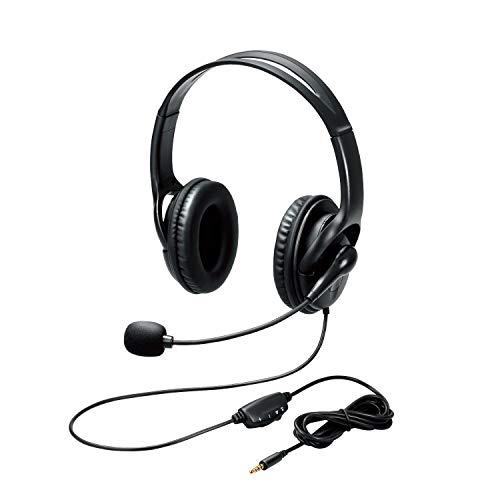 エレコム ヘッドセット Φ40mmドライバー 両耳 4極ミニプラグ+変換ケーブル ブラック ケーブル長180cm HS-103TBK