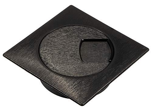 Preisvergleich Produktbild Gedotec Kunststoff Kabeldurchlass Schreibtisch Kabeldurchführung schwarz mit drehbarem Segment im Deckel - H1010 / Kabeldose Bohr-Ø 60 mm / Kabelführung eckig für Büro-Tische / 1 Stück - Kabelausgang